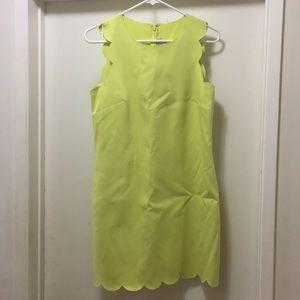 J Crew Neon Scalloped Dress